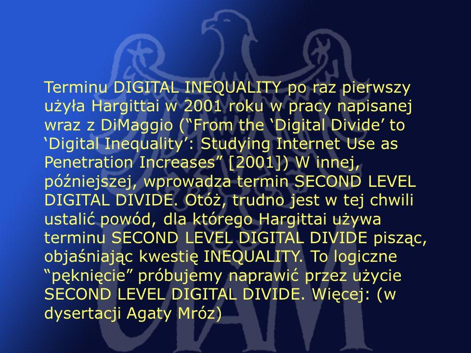 Terminu DIGITAL INEQUALITY po raz pierwszy użyła Hargittai w 2001 roku w pracy napisanej wraz z DiMaggio ( From the 'Digital Divide' to 'Digital Inequality': Studying Internet Use as Penetration Increases [2001]) W innej, późniejszej, wprowadza termin SECOND LEVEL DIGITAL DIVIDE.